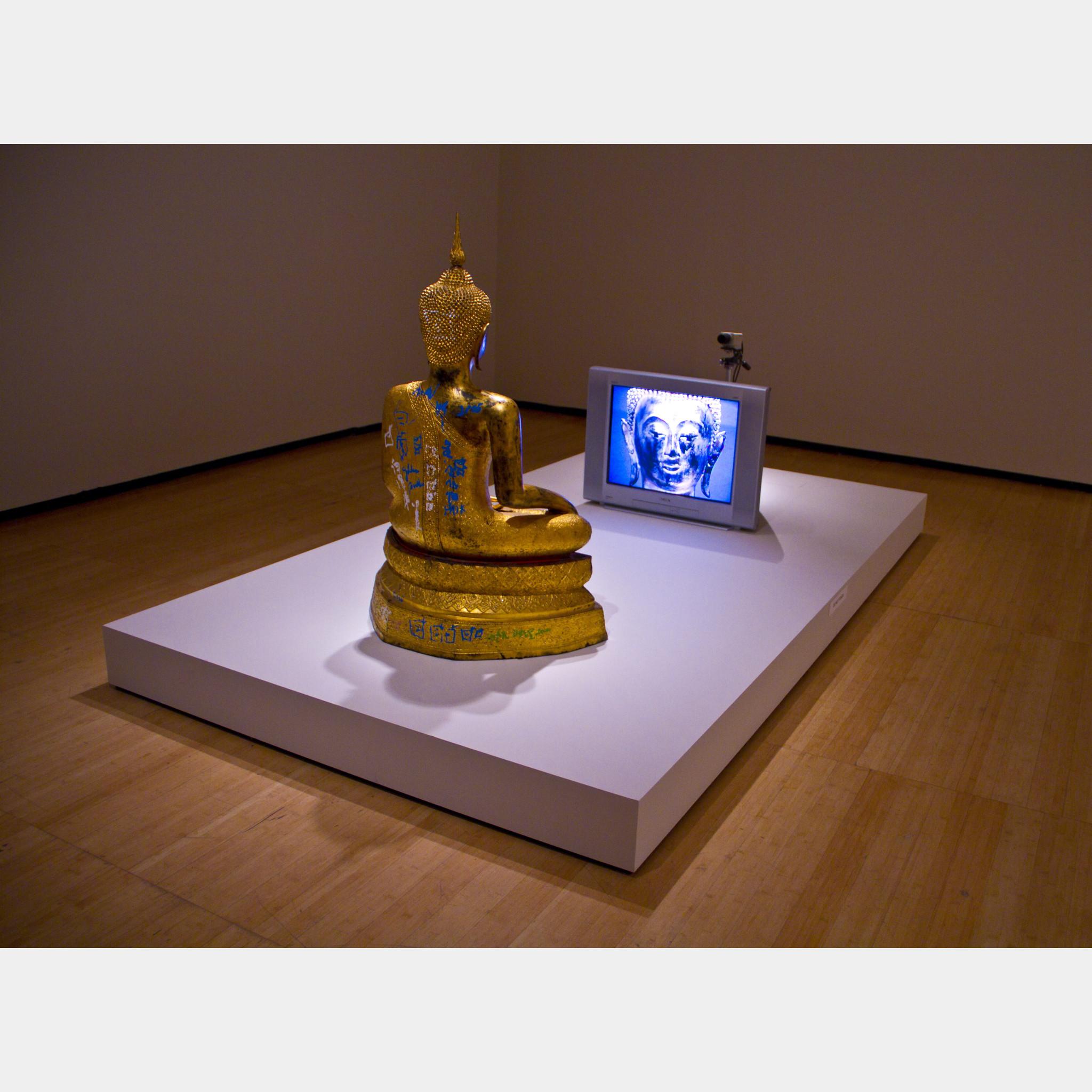 Nam June Paik Golden Buddha 2005