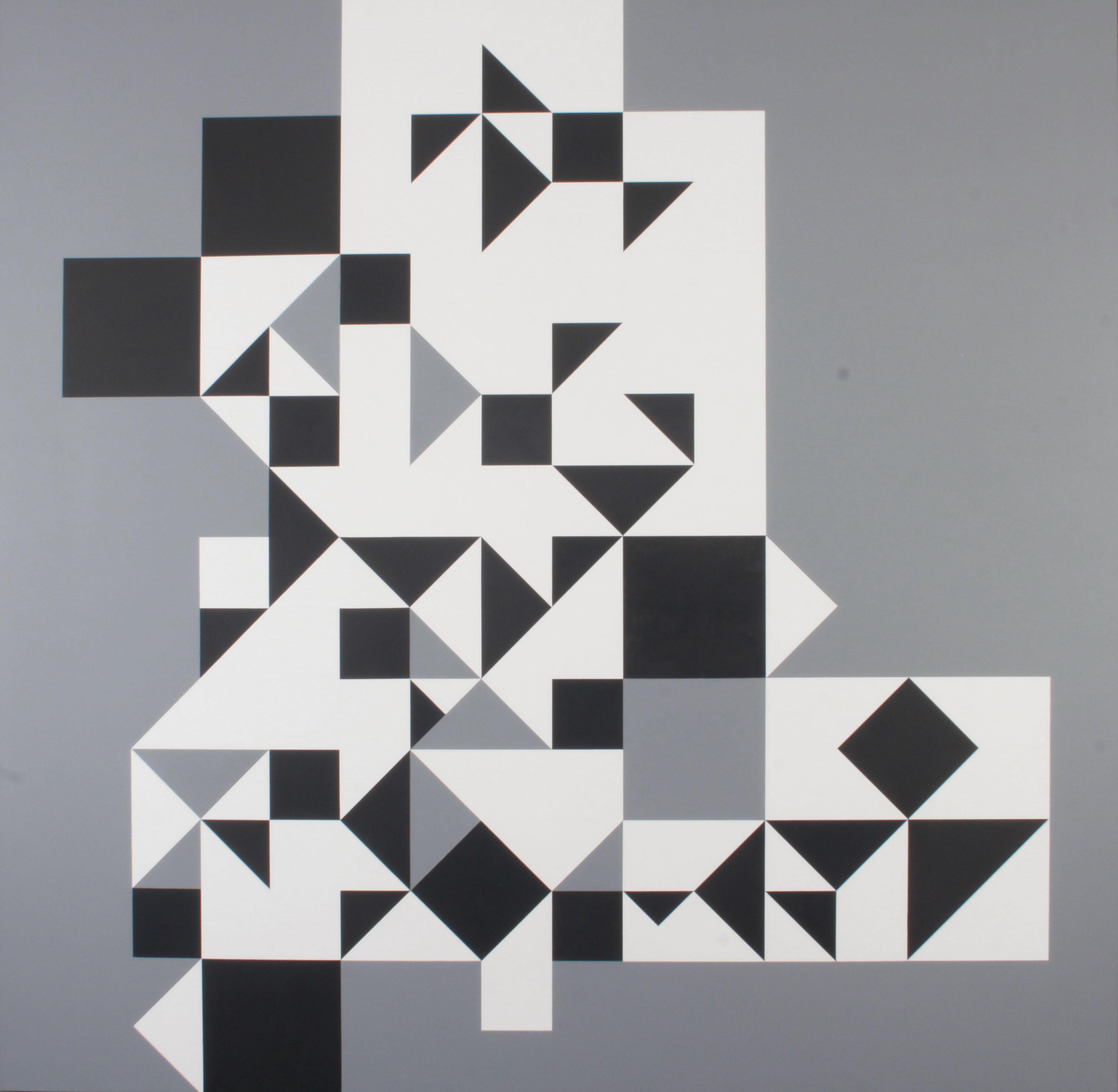 Julio Le Parc   Sobre retícula blanco, negro, gris   Art Basel