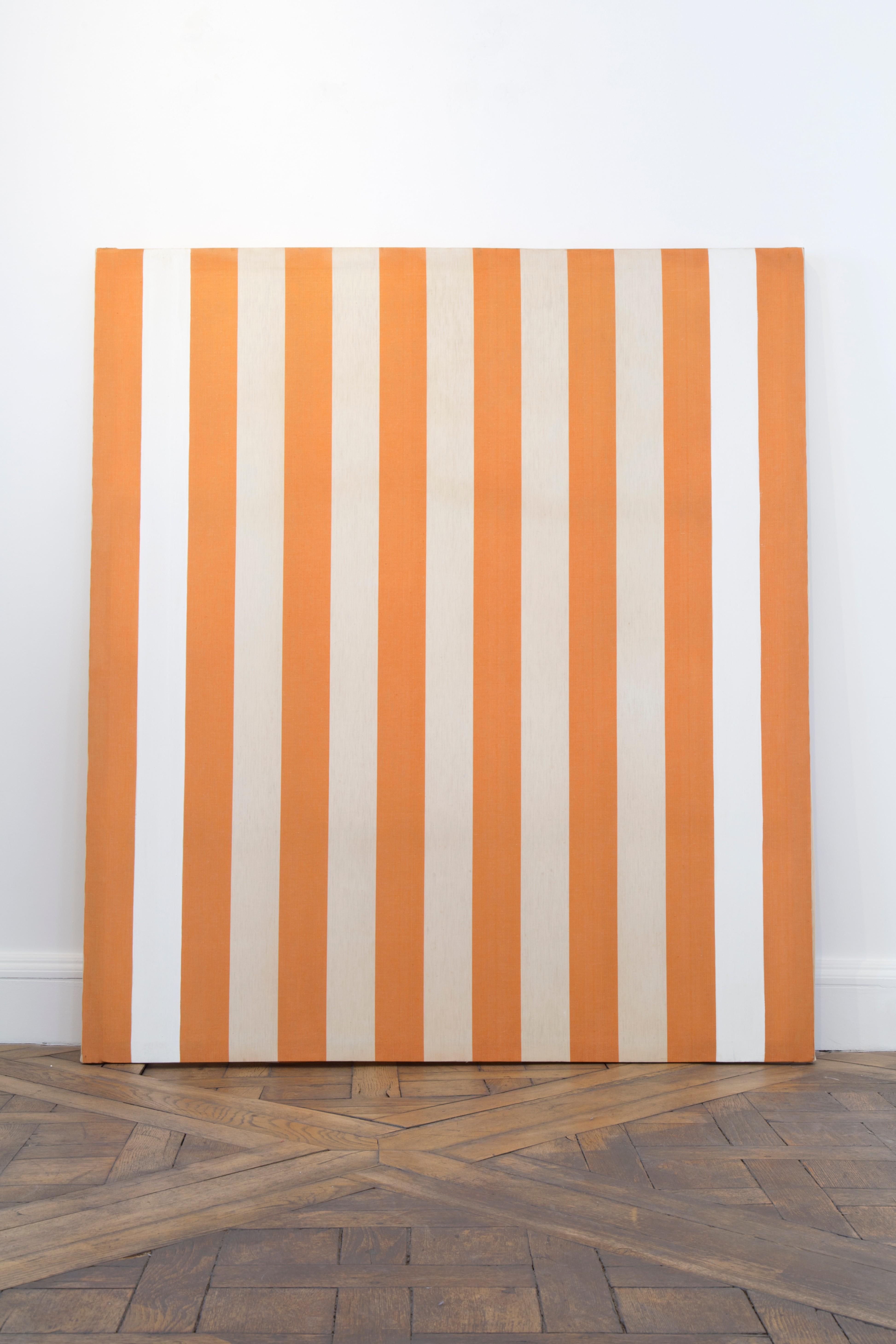 Daniel Buren Peinture Acrylique Blanche Sur Tissu Rayé Orange Et