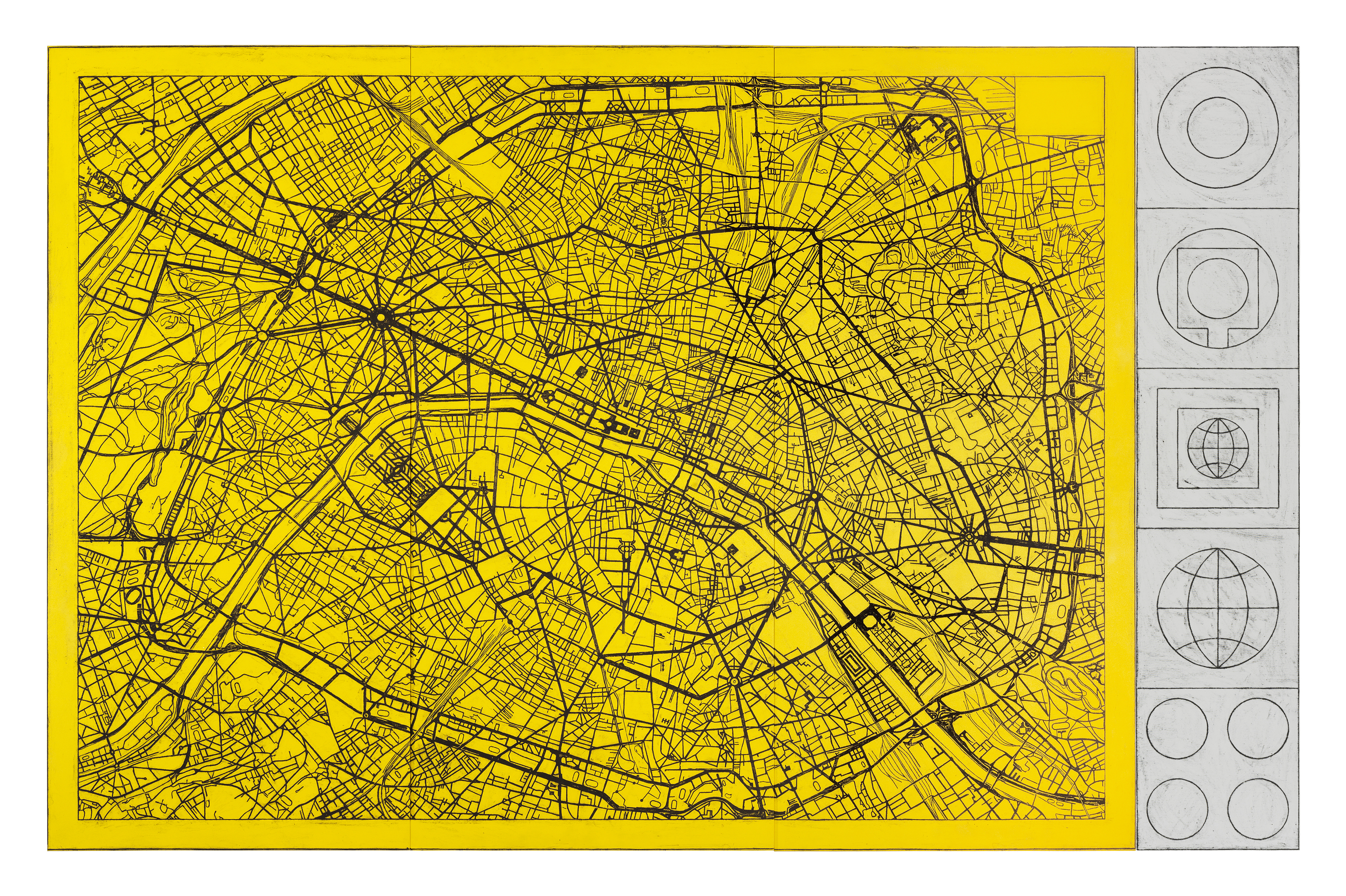 Matt Mullican Untitled Paris Street Map II With Signs Art Basel - Paris map 2016