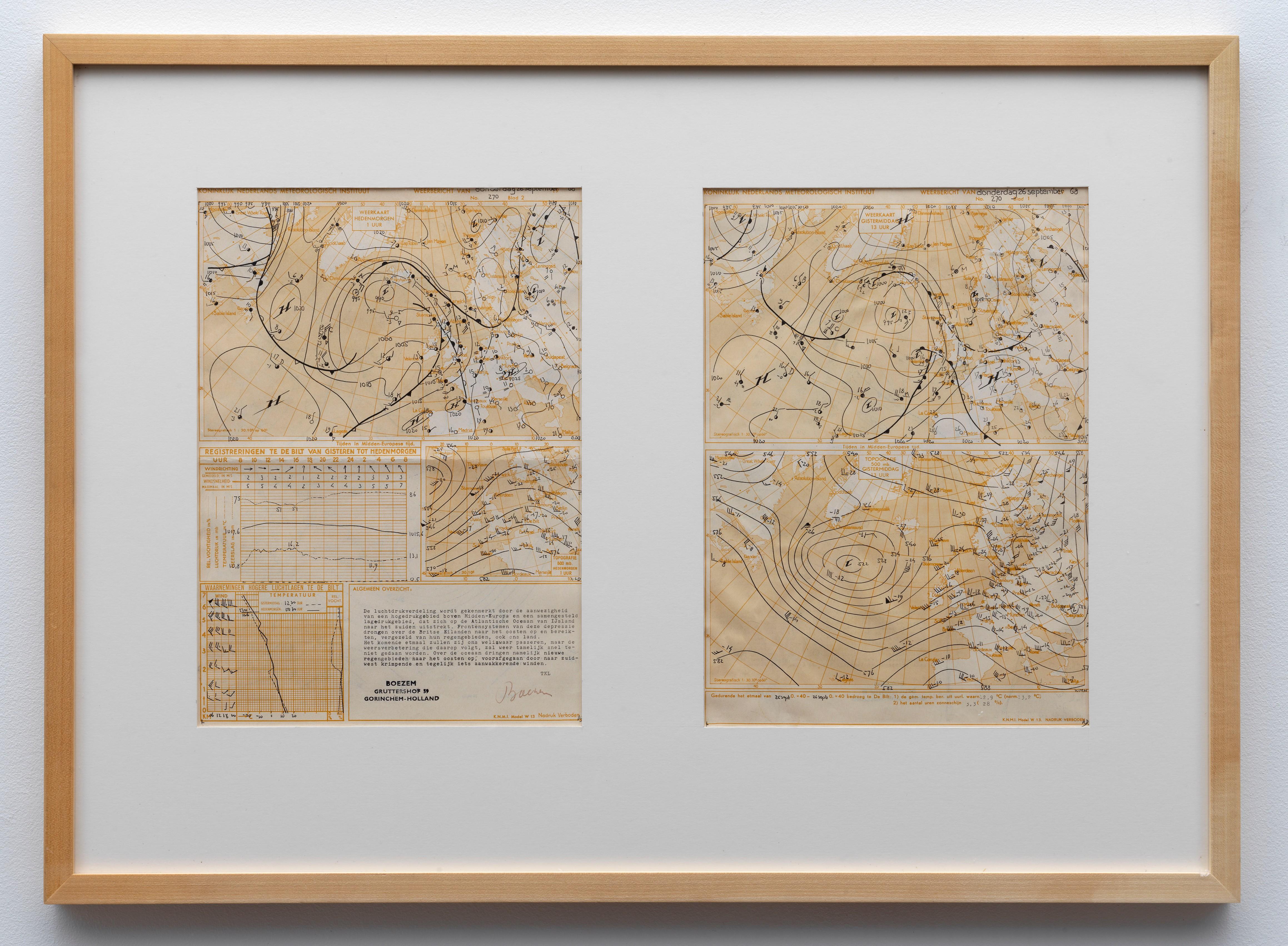 Marinus Boezem   Weather Map, Thursday, September 26, 1968   Art Basel